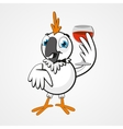 White funny cartoon hilarious parrot with a glass vector image vector image