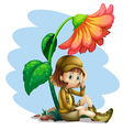 An adventurer under the shade of a flower vector image