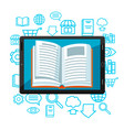 digital library concept tablet with open book e vector image
