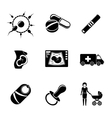Set of PREGNANCY icons with - egg and sperm pills vector image