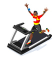 Treadmill Fitness Class Working Out Isometric vector image