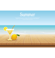 summer background blue sky with sea and wooden vector image