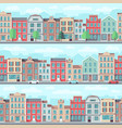 cartoon seamless street with old apartment vector image