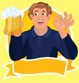 Man with beer ribbon vector image