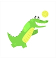 Crocodile Playing Volleyball Humanized Green vector image