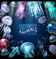 underwater animals frame background vector image