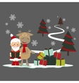 Christmas greeting card with deer and santa claus vector image