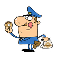 White Cop Licking His Lips And Holding A Donut vector image vector image