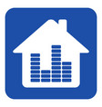 blue white information sign house with equalizer vector image