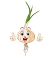 Cartoon cute garlic thumbs up vector image