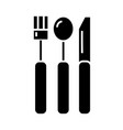 cutlery icon black sign on vector image
