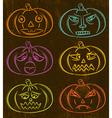 Halloween Pumpkins Horror Persons Emotion Variatio vector image