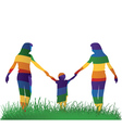 lesbian parents walking with their kid vector image