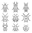 small funny bugs icon set vector image