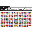 set 207 country flags reflection vector image