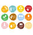 set food labels allergens food intolerance symbol vector image