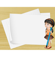 A girl thinking near the empty papers vector image vector image