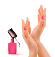 Hands with pink polished nails Nail polish bottle vector image