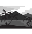 Silhouette of coconut tree with mountain vector image