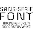 Black sans-serif modern font on white background vector image