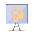 board with human head silhouette and brain vector image