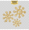 Gold glitter icon of virus isolated on vector image