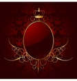 Royal red background with golden frame vector image