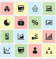 set of 16 editable statistic icons includes vector image