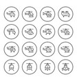 set round line icons of helicopter vector image