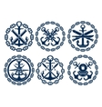 Marine and nautical emblems icons vector image vector image