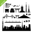 Tokyo Japan landmark silhouettes vector image