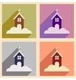 Set flat icons with long shadow Christmas church vector image