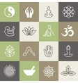 Yoga symbols and poses for pilates studio or zen vector image
