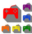 joystick simple sign set of red orange yellow vector image