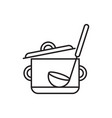 saucepan with ladle vector image vector image