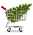 Cart with Christmas Tree vector image