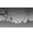 Halloween silhouette of spider and scary zombie vector image