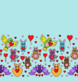 animal toys with heart seamless border vector image