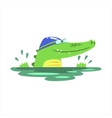 Crocodile Swimming In Pool With Rubber Hat vector image