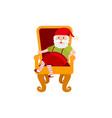 flat santa claus sitting at armchair vector image