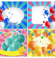 four design of backgrounds with balloons vector image