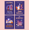 halloween invitations and flyers set vector image