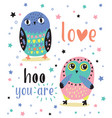 romantic card with two cute owls love hoo you are vector image