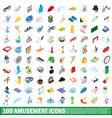 100 amusement icons set isometric 3d style vector image