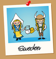 Sweden travel polaroid people vector image vector image