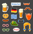 set of oktoberfest photo booth stickers vector image vector image