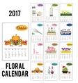 2017 year calendar with season flowers vector image