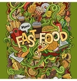Fast food hand lettering and doodles elements vector image