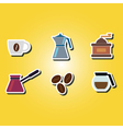 color icons with coffee vector image