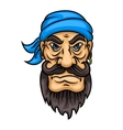 Cartoon bearded pirate sailor or captain vector image